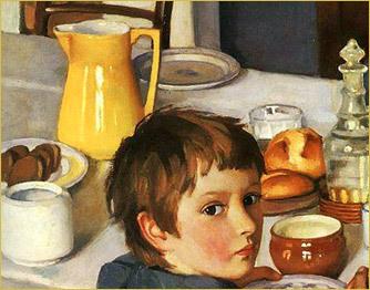 Сочинение по картине За обедом (За завтраком) Серебряковой 2 класс описание