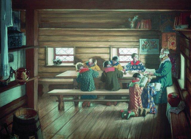 Сочинение по картине Земская школа в Московской Руси Кустодиева 6 класс