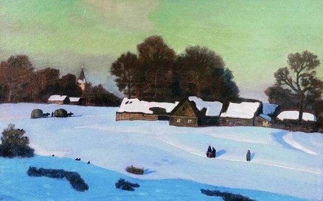 Сочинение-описание картины Зимний вечер Крымова (6 класс)