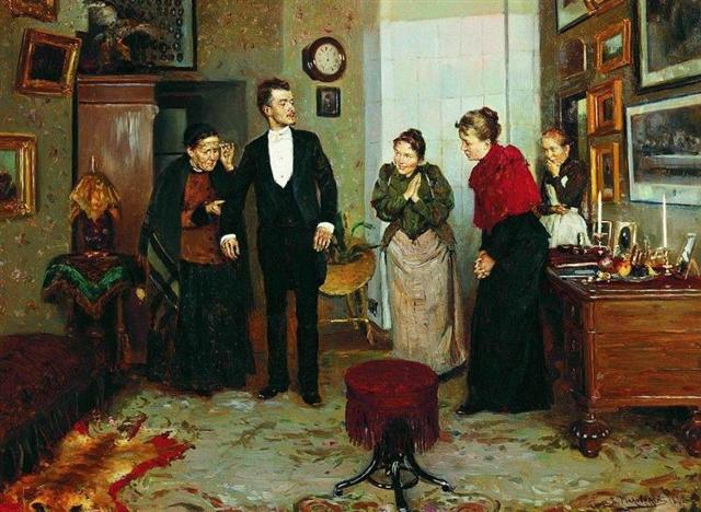 Сочинение по картине В. Маковского Первый фрак (8 класс)