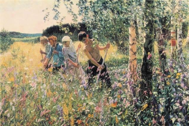 Сочинение по картине Сенокос Пластова (5, 6, 7 класс описание)