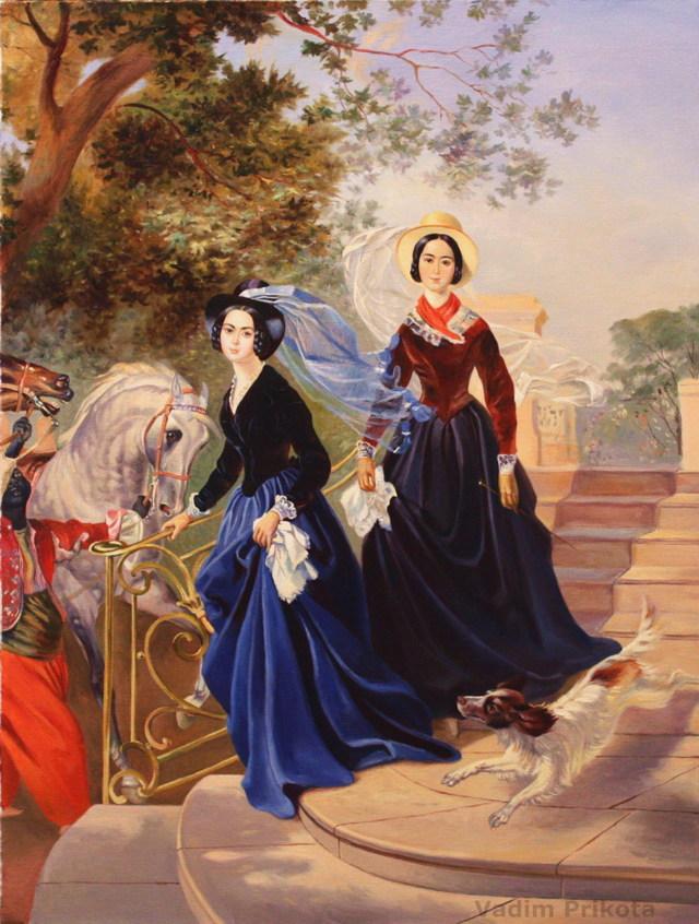 Сочинение Описание картины Портрет сестер Шишмарёвых Брюллова 8 класс