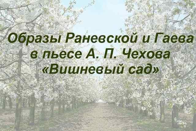 Сочинение Гаев в пьесе Вишневый сад (Образ и характеристика)